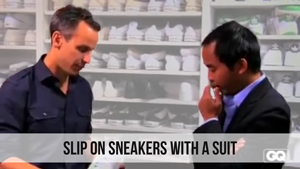 slip on sneakers with a suit