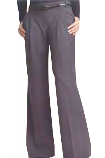 This custom-made womens flare leg pants with a high waist displays vertical front pockets, reverse double pleats and dropped extended belt loops. With hand sewn cuffs and hems, this semi-casual grey womens pants is perfect for all day comfort. Customize it in wool, silk or cotton.