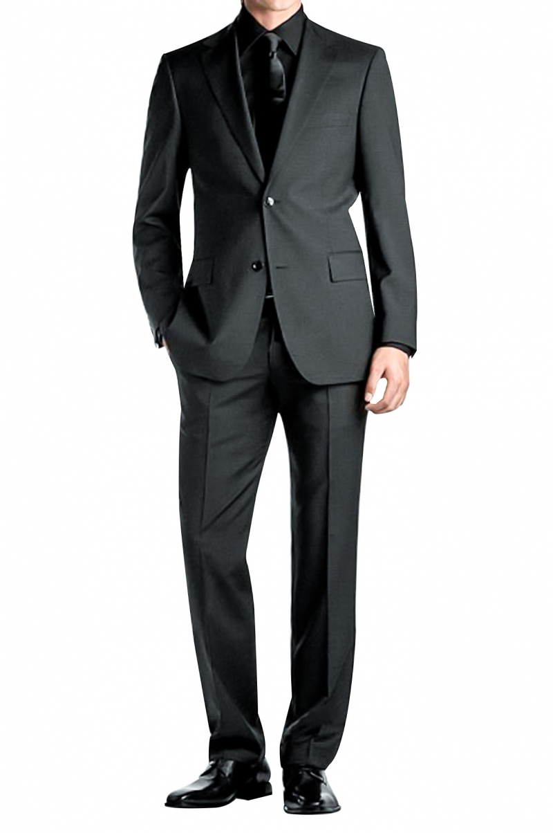 ed30d857f65af1 Mens slim cut black gabardine suit