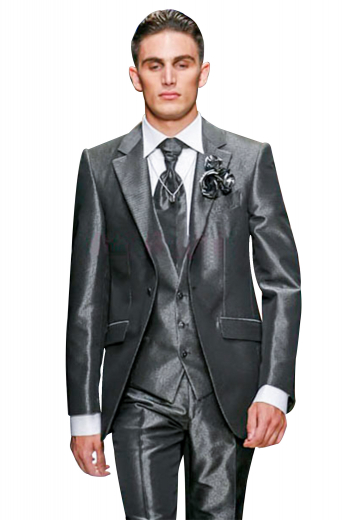An elegant 3 piece suit with a slim cut one button jacket. This single breasted jacket has straight edged notch lapels and an extravagant boutonniere on the left lapel, an upper welt pocket, and lower flap pockets. The suit is completed by a custom vest and custom fit suit pants.