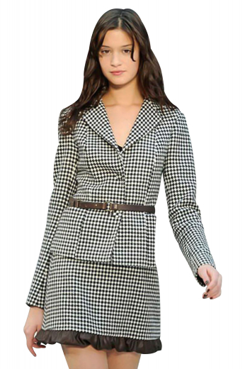 With cute ruffles on the hem, these plaid suit skirts are ideal formal wears for fashionable girls. They exhibit concealed back zipper aligned with a center vent. The suit blazers, with a square bottom, have an impressive front dart between the shoulder seam and hem. Pressed notch lapels and surgeons sleeves give these stunner line silhouette jackets with three front buttons, a classy finish.