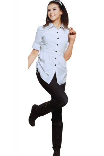 Handsewn trendy summer shirts with a string tie vent and seven contrast buttons in black. Spellbinding white casual shirts flashing a semi-spread collar, 2.¾ inches high on the front and 1.¼ inches wide on the back. Cuffs are neatly rolled inside the sleeves and the neck flaunts a yoke shaped pattern. Custom-made with an elasticized waistband for figure flattering silhouette. Donn with slim cut custom denims to ace a casual office look.