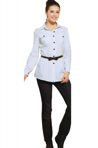 Boasting a regal ainsley collar, 2.¾ inches high on the front and 1.¼ inches wide on the back, these casual white shirts are perfect for fashionable women. With six contrast front buttons to close, these summer ready handmade shirts put to display two box pleated upper pockets with flaps and buttons. Cut and sewn in a yoke neck pattern, you can order these custom shirts in easy use fabrics.