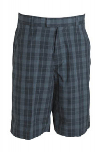 Handmade plaid golf shorts with a flat front design and slash pockets, completed by two back pockets and hand-sewn cuff hems.