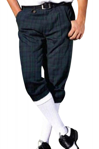 Hand tailored reverse pleat golf pants made with the finest of traditional Scottish Tattersall. These golf pants have front slash pockets, two back pockets, and elastic cuffs.