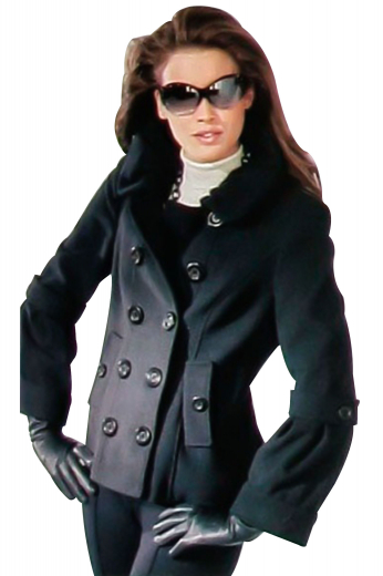 Double breasted with ten front buttons, five to close, these iconic hip length overcoats give a stunning evening party look with custom-made slim cut denim jeans. Wear with pencil skirts for a formal look. With a distinctive design, these handmade black coats have stand up shirt collar lapels that are rolled over to the front button, slanted lower pockets with flaps and buttons, surgeons sleeves and cuffs with buttoned epaulettes.