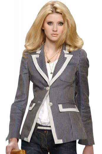 With contrast piping all along the collar lapels, pockets and the front edges, these classy custom-made formal jackets put to view satin covered peak collar lapels, rolled over to the first button, one square upper pocket with detailed patchwork and two lower pockets with satin covered flaps sporting impressive patch work. These hip length striped jackets have two front buttons for closure. With a center vent, surgeons sleeves and squared bottoms, you can customize these jackets in wool and or cotton.