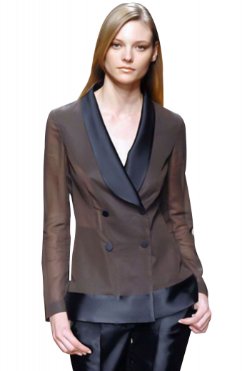 Trending, these beautiful formal blazers put to show four contrast front buttons, two to close and shawl collar lapels with contrast satin on the front. These hip length handmade jackets with squared bottoms display figure flattering slim cut and can be ordered in wrinkle free fabrics.