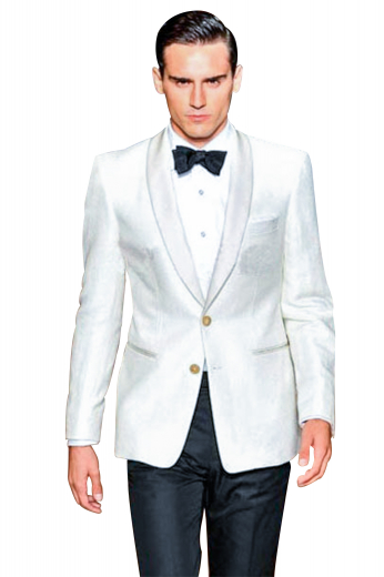 A slim cut two button suit jacket with a tapered waist paired with stunning high waisted tuxedo style suit pants. This suit is great for parties in the summer.