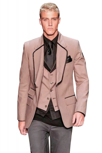 A slim cut one button single breasted suit jacket with the elegant touches of a pressed notch lapel, embroidered sleeves, and a flap ticket pocket.