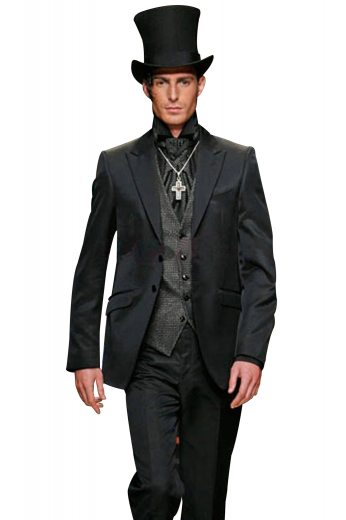 A three-piece work of art made up of a hand-tailored v-neck single breasted five button vest with no lapels, a slim cut single breasted two button suit jacket, and completed by a pair of reverse pleat slim cut suit pants.