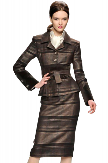 Body contouring ultra slim skirt suits with hip length jackets and calf length pencil skirts. The custom jackets look trendy with slim ruled notch lapels. With three buttons on the sleeves, these regal jackets close with two front buttons and a belt on the upper waist. The custom suit skirts display a back zipper, perfectly aligned with a center vent. With a flat front, these skirts are perfect for fashionable girls.
