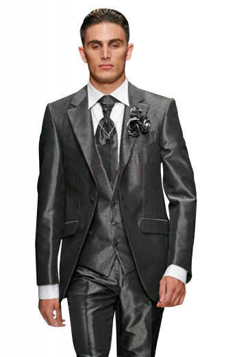 A deluxe tailored masterpiece. This three piece made to measure men's suit is made up a low gorge single breasted three button v-neck vest, a slim cut one button suit jacket, and completed by single reverse pleat suit pants.