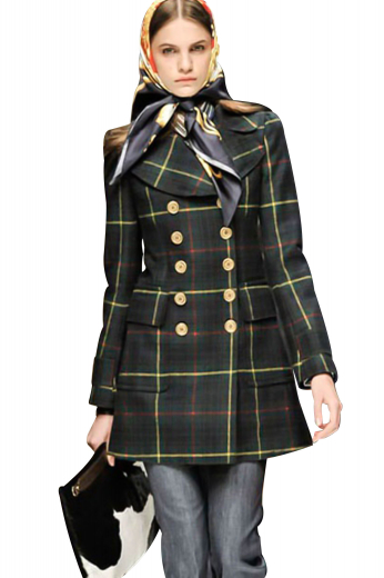 Beat winters in style with these handmade overcoats displaying an array of ten contrast buttons, five to close. Double breasted and knee length, these coats have classy rounded lower patch pockets with flaps on them. They can be customized with wrinkle free fabrics for easy maintenance.