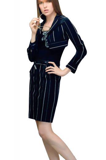 Handmade ravishing striped skirt suits with short jackets and pencil skirts. Short length jackets, ending a little below the bust, with notch lapel collars, are necessary formals for all fashionable women. They look mesmerizing over solid casual shirts. Suit skirts, ending a little above the knees, have flat fronts and a center vent on the back.