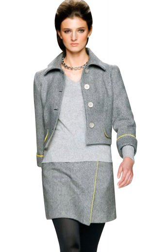 Comfortable skirt suits with short length jackets and A line skirts. The jackets, with Hawaii collar, turned up cuffs on the sleeves and four front closure buttons, are ideal for graduation parties and formal work events. Casual custom skirts with full pleats are perfect regular office wears for fashionistas.