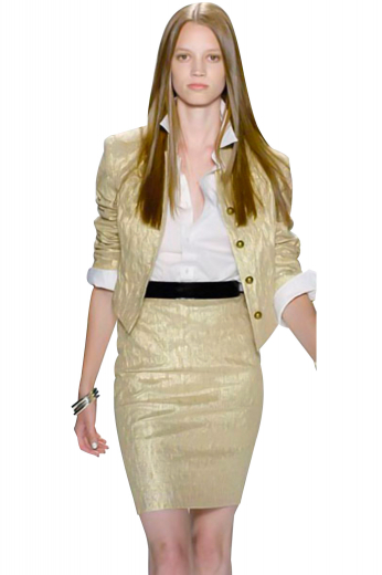 Dapper skirt suits with casual pencil skirts and short length slim jackets flashing five contrast front closure buttons. The jackets, with Hawaii collar and rolled up contrast cuffs on sleeves, create a mesmerising look with custom pencil skirts sporting a back zipper aligned with a center vent.