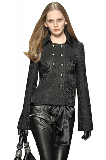 Sparkle and shine with these trendy black blazers sporting distinctive flare sleeves with cuffs. Double breasted with ten round buttons, five to close. Handmade, with a squared bottom, shirt collars and fitted arm holes, these ravishing blazers can be customized as wrinkle free and washable with easy use fabrics.