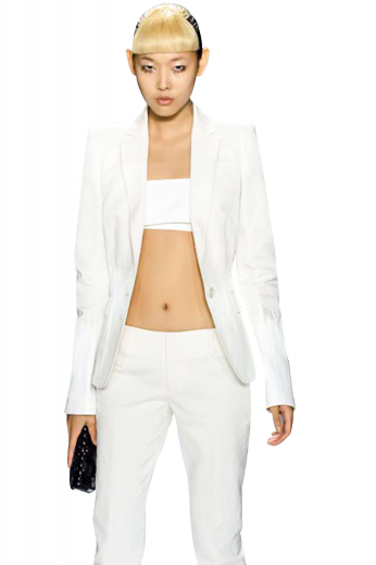 Short length stunning formal blazers with beautifully hand molded shoulders and a one button front closure. These body hugging white blazers are made of wrinkle free and washable fabrics.