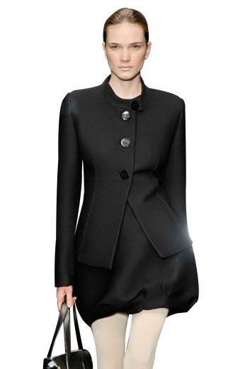 Handmade and ultra slim, these body hugging black blazers with buttoned high band collars are perfect for winters. With stylish three buttons for front closure and a square bottom flashing V cut on the front, these formal jackets are super sexy party wears.