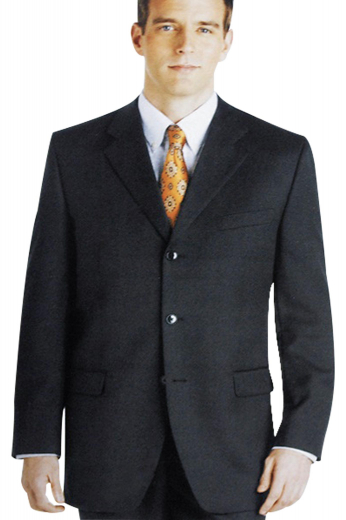 A deluxe executive style custom tailored men's suit with a single breasted two button suit jacket with pressed notch lapels and loose reverse double pleat plans.