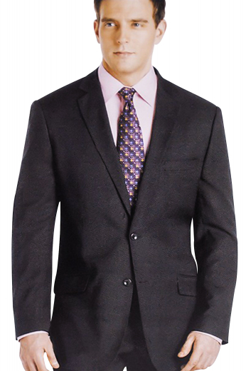 Behold a stylishly custom tailored suit with single breasted two-button suit jacket with pressed notch lapels. This made to measure jacket is paired with handmade reverse pleat suit pants featuring standard two-point button closure.