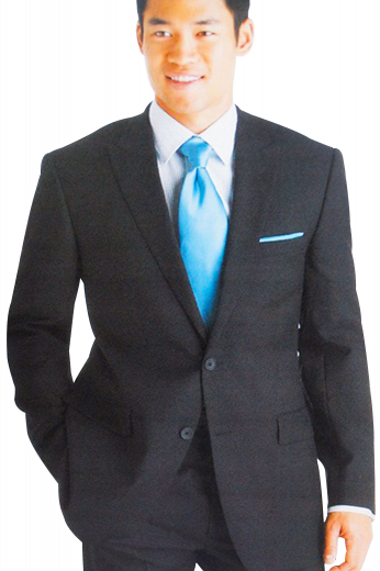 A skillfully bespoke men's single breasted two button suit jacket with high peak lapels matched elegantly with a pair of custom tailored slim fit flat front suit pants.