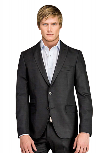 A bespoke single breasted two button suit jacket with pressed high peak lapels with a tapered waist, paired with a slim fit low waisted flat front tailored suit pants.