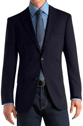 A tailor-made slim fit single breasted two button suit jacket with pressed high notch lapels adorned with a boutonniere. This elegant suit jacket has a comfortable tapered waist and embroidered sleeve cuffs.