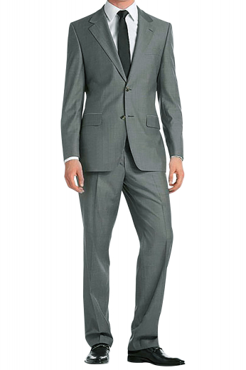 An English wool cashmere sharkskin gabardine men's suit made up of a pair of elegant slim fit flat front suit pants with custom hand-sewn cuff hems, matched with a single breasted two button suit jacket with pressed high notch lapels.