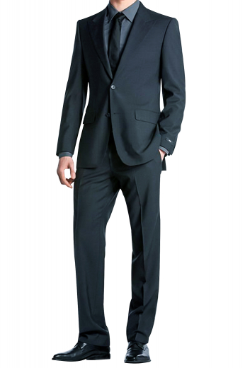 A bespoke men's single breasted two button suit jacket with sophisticated peak lapel, paired with high waisted reverse double pleat suit pants.