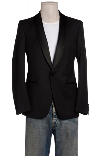 View this made to measure single-breasted one button tuxedo jacket featuring a shawl collar with satin facings, double piped lower pockets, classy embroidered sleeves, and an elegant cut-away front, all custom made.
