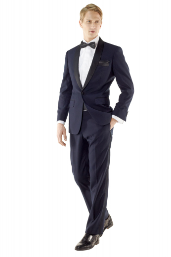 With refined features like a soft shoulder, sous bras, and shawl collar, this classic James bond style midnight blue tuxedo helps you get ready at a moment's notice for any formal affair.