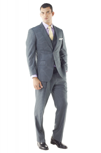 With its fully lined jacket this three piece suit is a laid-back sophistication. Cut to a athletic fit, this striking 2-button suit features a notched lapel, natural shoulder and patch pockets. Pants are with double pleats and accompanying is six button waistcoat