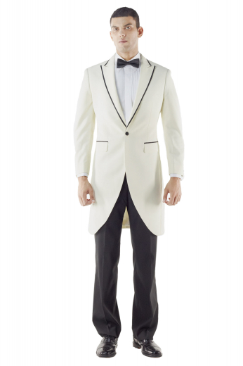 A white custom tailored men's long suit jacket with satin piping peak lapels, an upper welt pocket and lower satin besome flap pockets, paired with a pair of custom suit pants to make up a perfect black tie suit.