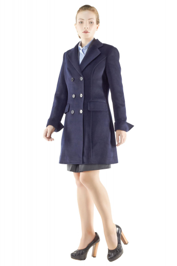 Knee length double breasted overcoats for winter season. Navy blue and handmade, these formal coats incorporate sleeves with folded cuffs, two lower flapped pockets and six front buttons, three to close. Can be worn with custom-made skirt suits for a stylish formal look.