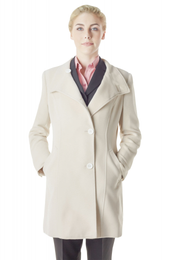 Embraced with buttoned cuffs, these long sleeves light cream overcoats have two front buttons to close. With shirt collar rolling down to the first button and two slanted lower pockets, these handmade coats are formal party wears that look breathtakingly beautiful with flare legs custom suit pants and handmade slacks.