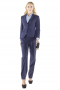 With short length jackets and full length pants, these handmade navy blue pant suits are latest trending formals. Figure flattering slim jackets have two front buttons, flapped lower pockets and hand molded shoulders. Bootcut pants with beauteous flare legs and slash pockets put to view two buttons with hooks on the waistband and a zip fly for secure closure.