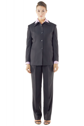 Super light black pant suits, custom made with wool and or cashmere, flaunt slim cut jackets and full length pants. Uber hot jackets with Hawaii collar also feature four buttons on sleeves cuffs, three front buttons and beautifully hand molded shoulders. Sexy flare legs custom pants with gorgeous double reverse pleats feature a wide waistband with two point buttons and a zipper fly to close. These bootcut pants incorporate front slash pockets and extended belt loops.
