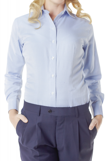 With matching front closure buttons and rounded barrel cuffs, these bespoke cotton shirts are sexy casual office wears. These snug fit light blue shirts sport Ainsley collars and front and back single darts.