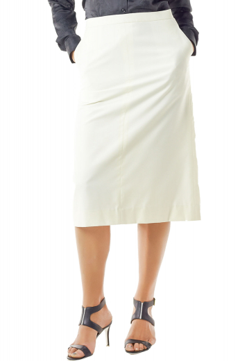 Stay classy in these stunning calf length custom tailored A line skirts with two slanted pockets. These figure flattering tailor made white skirts create uber sexy work look with suit shirts and custom vests. Sporting a back center vent aligned with a concealed made to measure back zipper, they are handmade with wool and or cashmere.