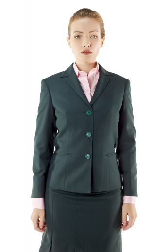 Fashionable dark green skirt suits featuring stylish jackets with stunning double piped lower pockets, notch lapel collars and three buttons on the front to close, and sexy pencil skirts with concealed back zippers, flat fronts and waistband with belt loops. You can order these custom made skirt suits in wrinkle proof wool and or fabric.