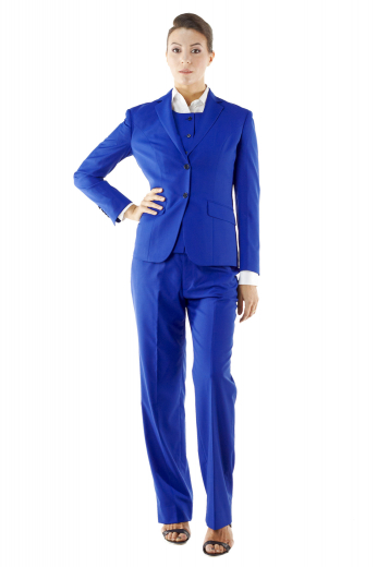 Ravishing royal blue pant suits incorporating slim cut vests with round neck and six front closure buttons, flare legs custom pants flashing slash pockets and zipper fly with buttons on the waistband for closure, and elegant jackets with two front buttons, slanted flapped lower pockets and hand molded shoulders.