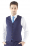 Perfectly suited for layering or simply for showing off over a crisp white shirt and tie, this blue 5-button waistcoat is made from a soft wool blend, and features high gorge, welted pockets and adjustable back strap.