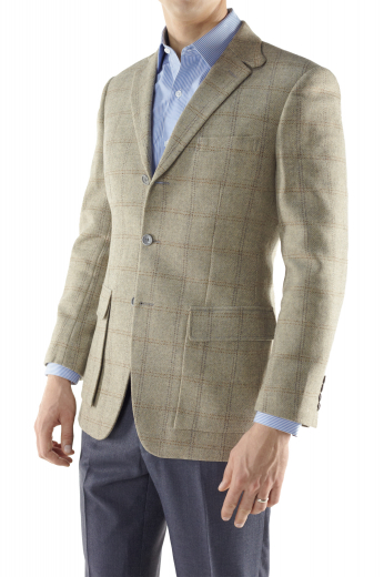 Order online this custom made Men's hunter sports coat handmade by professional tailors and composed of made to measure traditional British cut, three buttons, cargo pocket with flaps and notch lapel.