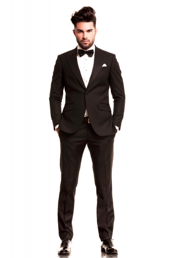 A hand-tailored men's birdseye English wool and cashmere blend dinner suit made up of a slim cut single breasted one button suit jacket with wide peak lapels, paired with sophisticated low waisted flat front pants.
