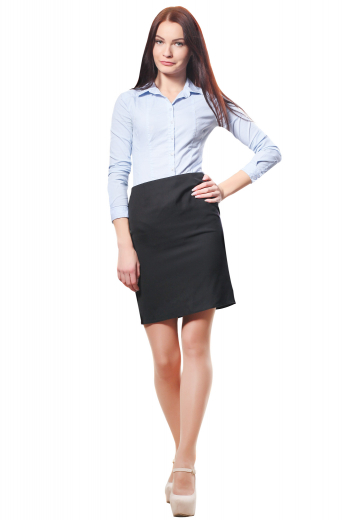 A line bespoke formal skirts with handmade concealed back zipper closure and tailored flat fronts. Tailor made with wool and or cashmere, these made to measure black skirts are regular office formals that can also be ordered wrinkle free.