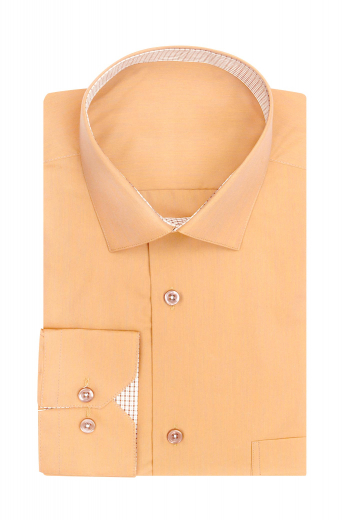 Mens classic slim fit one pocket dress shirt with a semi spread inner contrast collar band and mitered barrel cuffs with inner contrast cuff bands.