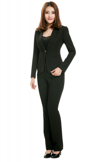 Trendy and sophisticated bespoke pant suits incorporating body hugging ultra slim jackets with shawl collars, one front closure button, two double piped lower pockets and comfortable hand molded shoulders, and slim fit custom pants with flare legs, unfinished cuffs and zipper fly accompanied by buttons on the waistband for front closure.