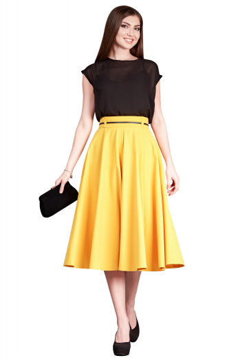 Handmade with silk, these calf length feminine bespoke skirts are semi-formal party wears. These tailor made mustard yellow flared skirts display made to order concealed zipper at front left and tailored extended waistband with belt loops for proper closure.